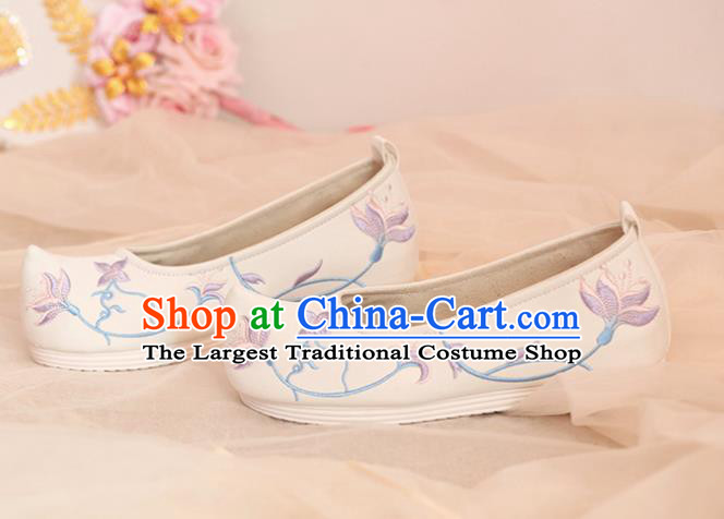 Chinese Traditional Shoes Opera Shoes Hanfu Princess Shoes Embroidered Orchid White Shoes for Women