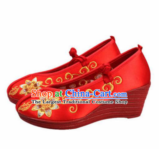 Chinese Traditional Shoes Opera Wedding Satin Shoes Hanfu Princess Shoes Embroidered Red Shoes for Women