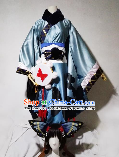 Chinese Traditional Cosplay Female Knight Blue Costume Ancient Swordsman Taoist Nun Dress for Women