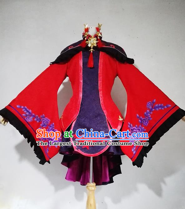 Chinese Traditional Cosplay Female Knight Red Costume Ancient Swordsman Taoist Nun Dress for Women