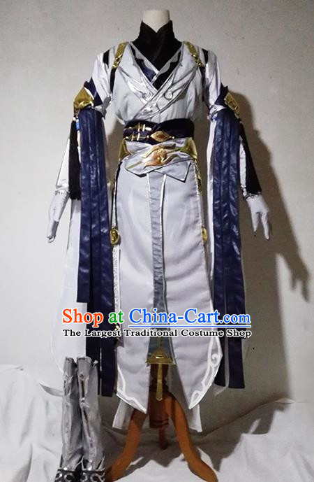 Chinese Traditional Cosplay Taoist Priest White Costume Ancient Swordsman Hanfu Clothing for Men