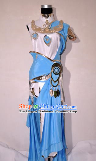 Chinese Traditional Cosplay Knight Costume Ancient Swordsman Blue Dress for Women