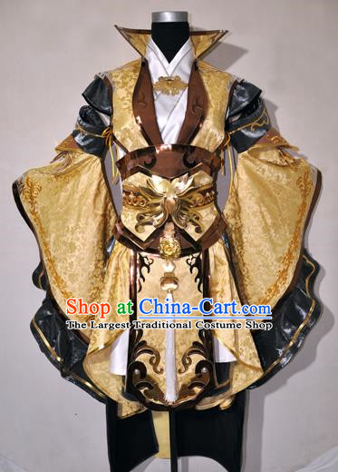 Chinese Traditional Cosplay Young Knight Golden Costume Ancient Swordsman Hanfu Clothing for Men