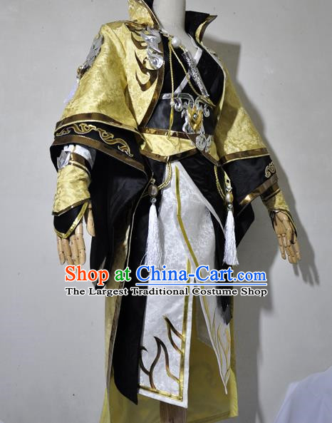 Chinese Traditional Cosplay Royal Highness Young Knight Golden Costume Ancient Swordsman Hanfu Clothing for Men