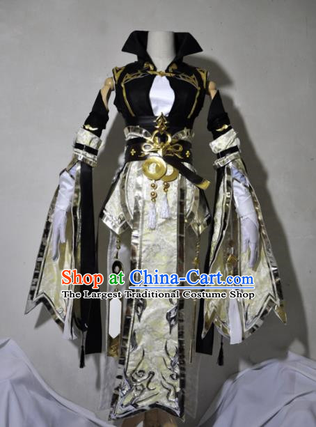 Chinese Traditional Cosplay Knight Costume Ancient Queen Swordsman Light Golden Dress for Women