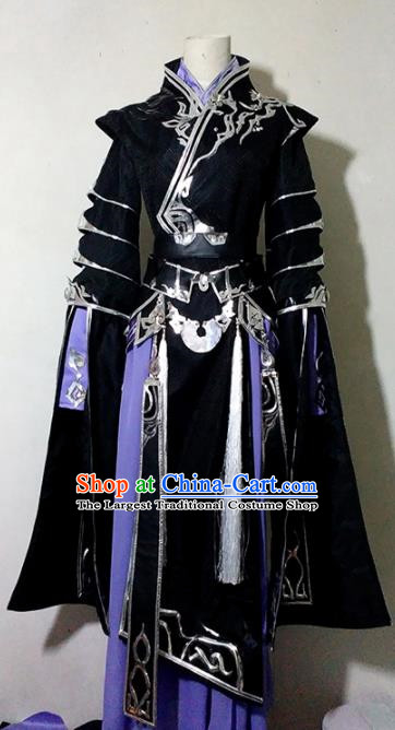 Chinese Traditional Cosplay Prince Young Knight Black Costume Ancient Swordsman Hanfu Clothing for Men