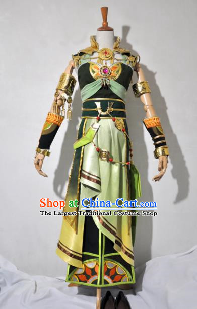 Chinese Traditional Cosplay Female Knight Costume Ancient Princess Swordsman Green Dress for Women