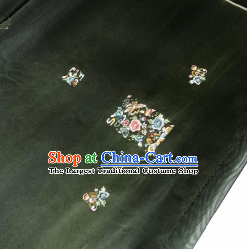 Traditional Chinese Embroidered Peony Black Silk Fabric Classical Pattern Design Brocade Fabric Asian Satin Material