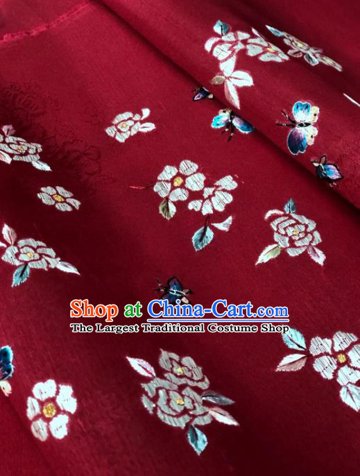 Traditional Chinese Embroidered Peony Wine Red Silk Fabric Classical Pattern Design Brocade Fabric Asian Satin Material