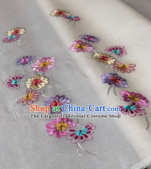 Traditional Chinese Embroidered Daisy White Silk Fabric Classical Pattern Design Brocade Fabric Asian Satin Material