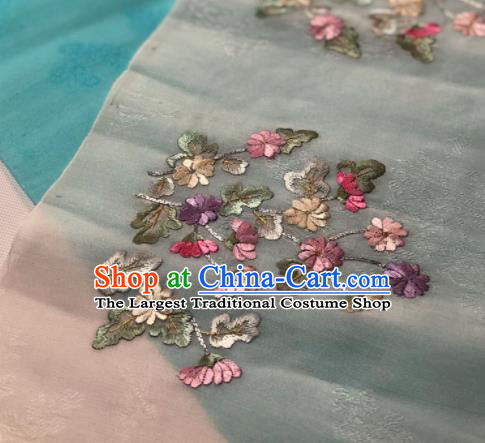 Traditional Chinese Embroidered Daisy Grey Silk Fabric Classical Pattern Design Brocade Fabric Asian Satin Material