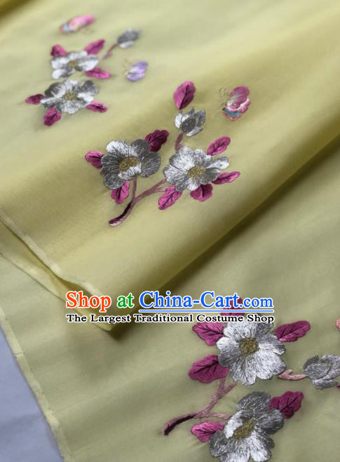 Traditional Chinese Embroidered Flower Yellow Silk Fabric Classical Pattern Design Brocade Fabric Asian Satin Material