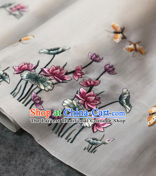 Traditional Chinese Embroidered Lotus White Silk Fabric Classical Pattern Design Brocade Fabric Asian Satin Material