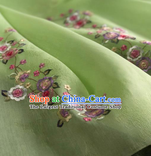 Traditional Chinese Embroidered Flowers Green Silk Fabric Classical Pattern Design Brocade Fabric Asian Satin Material