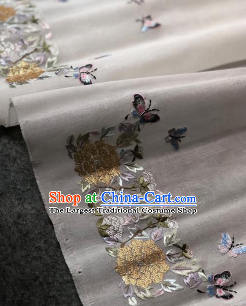 Traditional Chinese Embroidered Hydrangea White Silk Fabric Classical Pattern Design Brocade Fabric Asian Satin Material