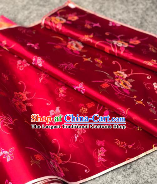 Traditional Chinese Rosy Silk Fabric Classical Pattern Design Brocade Fabric Asian Satin Material