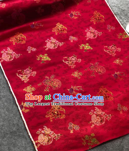 Traditional Chinese Embroidered Wine Red Silk Fabric Classical Pattern Design Brocade Fabric Asian Satin Material