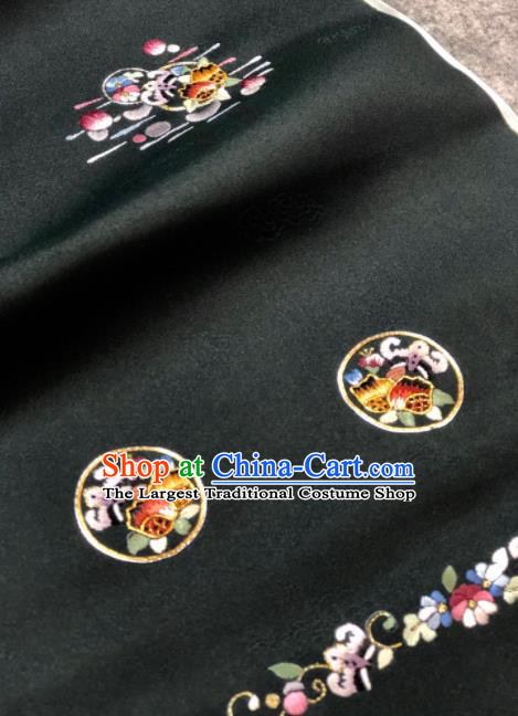 Traditional Chinese Embroidered Black Silk Fabric Classical Pattern Design Brocade Fabric Asian Satin Material
