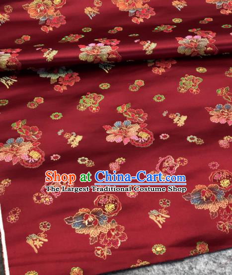 Traditional Chinese Wine Red Silk Fabric Classical Peony Pattern Design Brocade Fabric Asian Satin Material