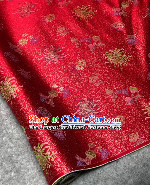 Traditional Chinese Red Silk Fabric Classical Chrysanthemum Pattern Design Brocade Fabric Asian Satin Material