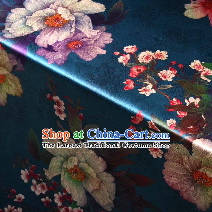 Chinese Traditional Classical Plum Peony Pattern Blue Brocade Damask Asian Satin Drapery Silk Fabric