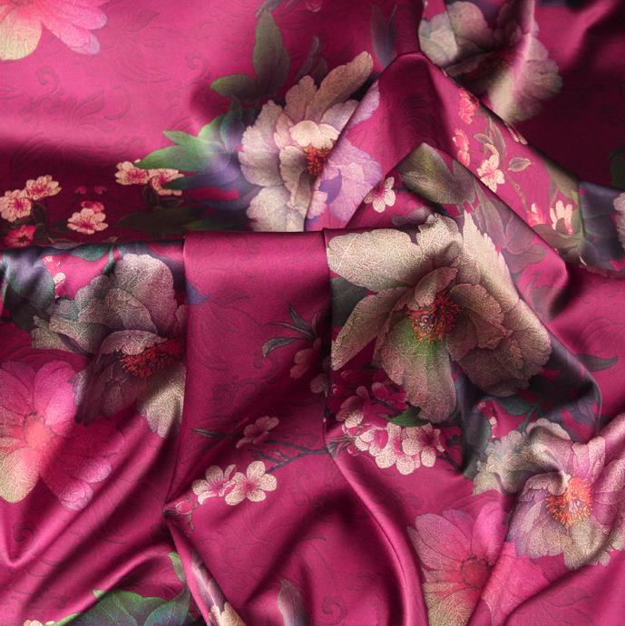 Chinese Traditional Classical Plum Peony Pattern Rosy Brocade Damask Asian Satin Drapery Silk Fabric