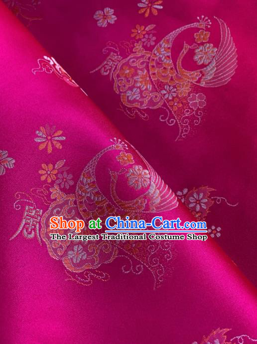 Traditional Chinese Rosy Satin Classical Pattern Design Brocade Fabric Asian Silk Fabric Material