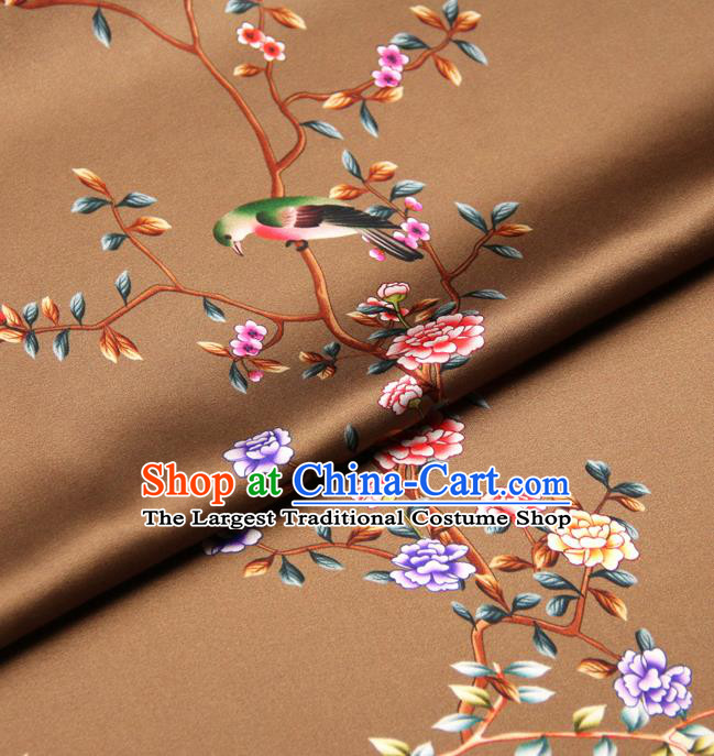 Chinese Traditional Classical Peony Birds Pattern Brown Brocade Damask Asian Satin Drapery Silk Fabric