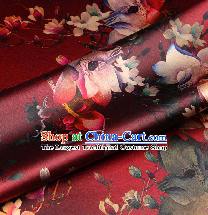 Chinese Traditional Classical Lotus Flowers Pattern Red Brocade Damask Asian Satin Drapery Silk Fabric