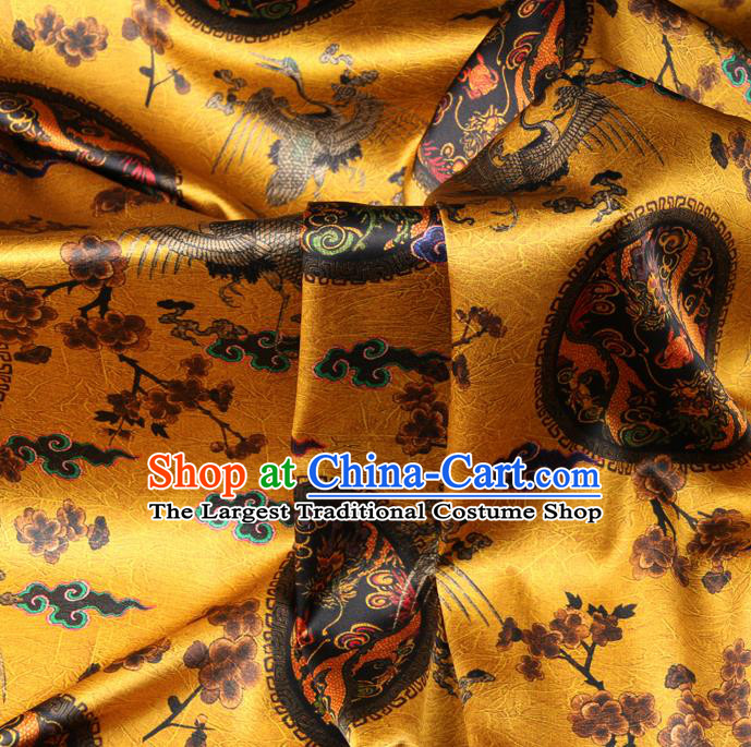 Chinese Traditional Classical Crane Dragon Pattern Yellow Brocade Damask Asian Satin Drapery Silk Fabric