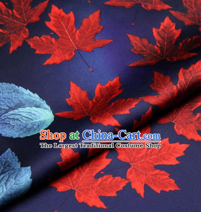 Chinese Traditional Classical Maple Leaf Pattern Deep Blue Brocade Damask Asian Satin Drapery Silk Fabric
