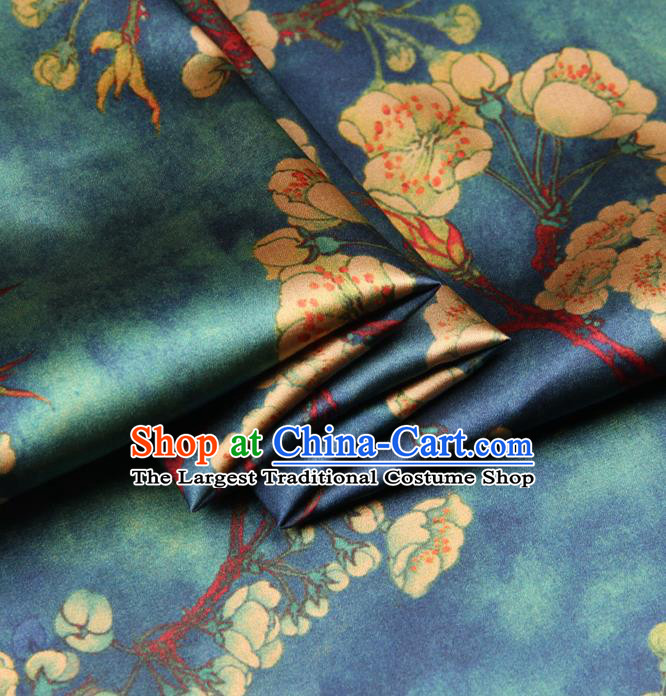 Chinese Traditional Classical Plum Pattern Atrovirens Brocade Damask Asian Satin Drapery Silk Fabric