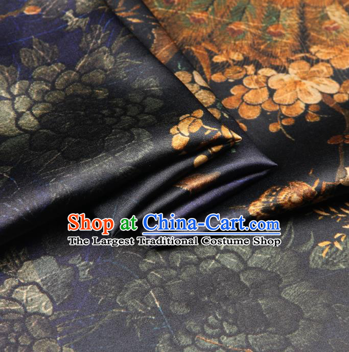 Chinese Traditional Classical Peacock Pattern Purple Brocade Damask Asian Satin Drapery Silk Fabric
