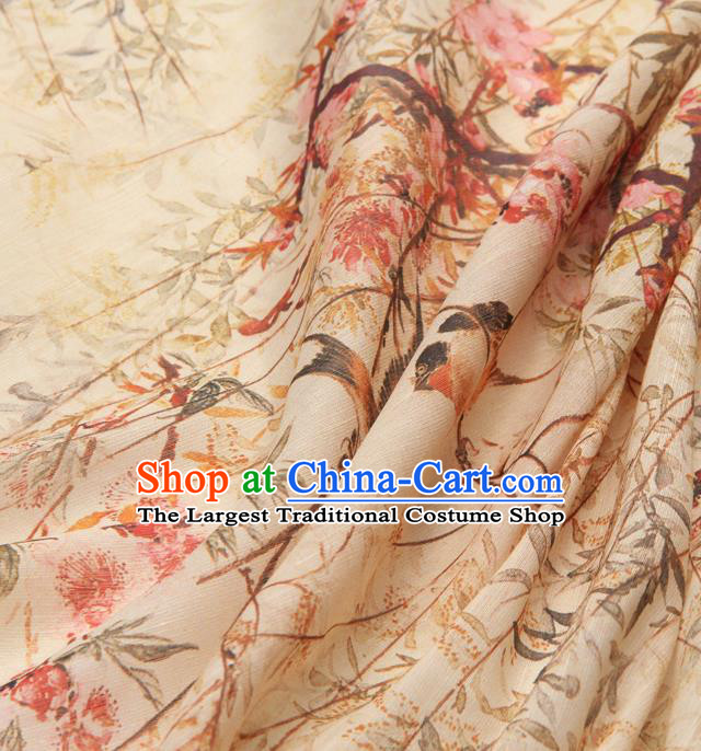 Chinese Traditional Classical Swallow Pattern Beige Brocade Damask Asian Satin Drapery Silk Fabric
