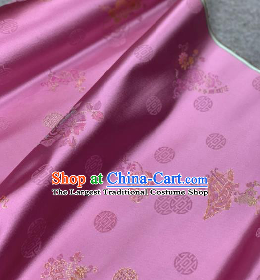 Traditional Chinese Rosy Satin Classical Embroidered Pattern Design Brocade Fabric Asian Silk Fabric Material