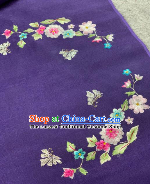 Traditional Chinese Purple Satin Classical Embroidered Flowers Pattern Design Brocade Fabric Asian Silk Fabric Material