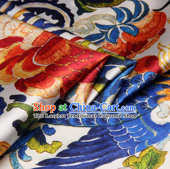 Chinese Traditional Classical Phoenix Peony Pattern Brocade Damask Asian Satin Drapery Silk Fabric