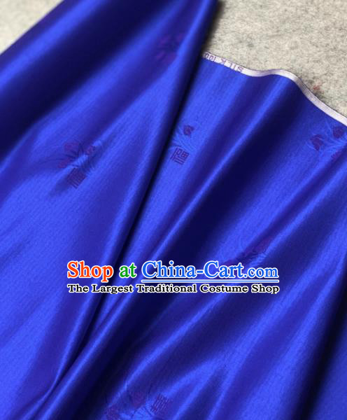 Traditional Chinese Royalblue Satin Classical Orchid Pattern Design Brocade Fabric Asian Silk Fabric Material