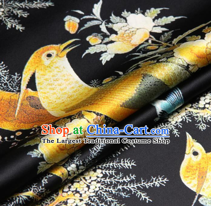 Chinese Traditional Classical Flowers Birds Pattern Black Brocade Damask Asian Satin Drapery Silk Fabric