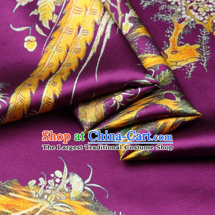 Chinese Traditional Classical Flowers Birds Pattern Purple Brocade Damask Asian Satin Drapery Silk Fabric