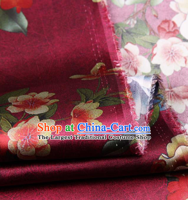 Chinese Traditional Classical Peach Flowers Pattern Wine Red Brocade Damask Asian Satin Drapery Silk Fabric