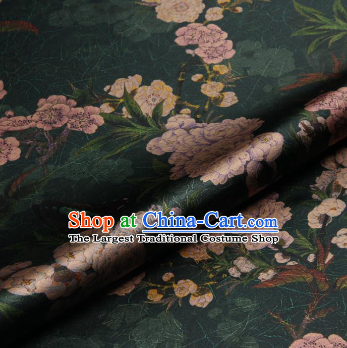 Chinese Traditional Classical Peach Blossom Pattern Deep Green Brocade Damask Asian Satin Drapery Silk Fabric