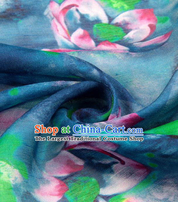 Chinese Traditional Classical Lotus Pattern Blue Brocade Damask Asian Satin Drapery Silk Fabric