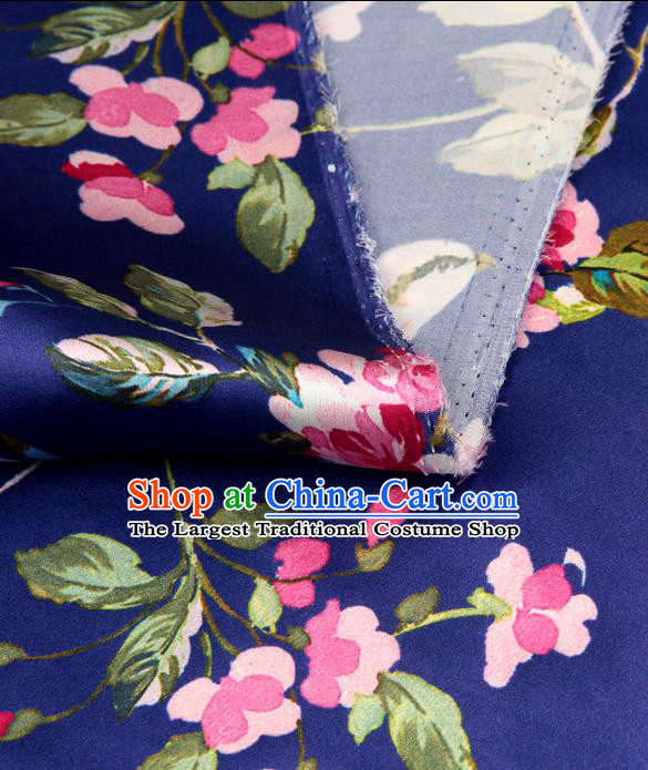 Chinese Traditional Classical Begonia Pattern Royalblue Brocade Damask Asian Satin Drapery Silk Fabric