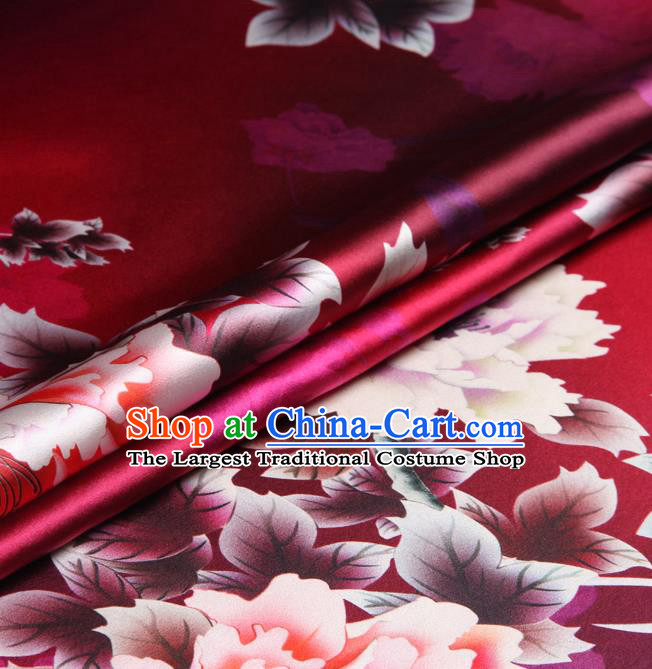 Chinese Traditional Classical Peony Pattern Rosy Brocade Damask Asian Satin Drapery Silk Fabric