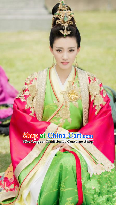 Drama The Legend of Deification Chinese Ancient Shang Dynasty Imperial Consort Su Daji Historical Costume and Headpiece Complete Set