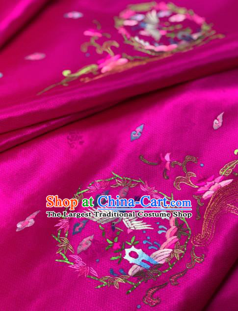 Traditional Chinese Satin Classical Embroidered Crane Pattern Design Rosy Brocade Fabric Asian Silk Fabric Material