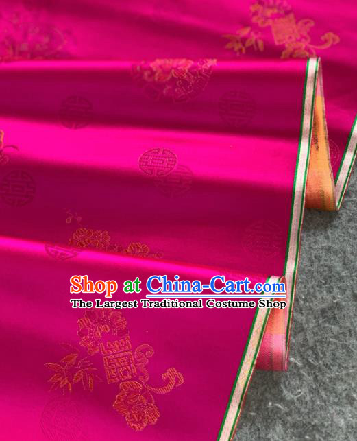 Traditional Chinese Satin Classical Bamboo Peony Pattern Design Rosy Brocade Fabric Asian Silk Fabric Material