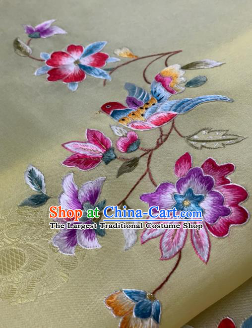 Traditional Chinese Satin Classical Embroidered Flower Bird Pattern Design Yellow Brocade Fabric Asian Silk Fabric Material