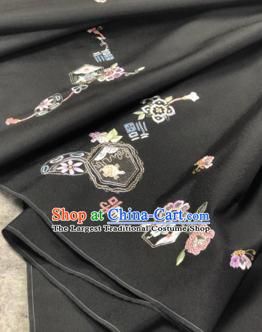 Traditional Chinese Satin Classical Embroidered Longevity Pattern Design Black Brocade Fabric Asian Silk Fabric Material
